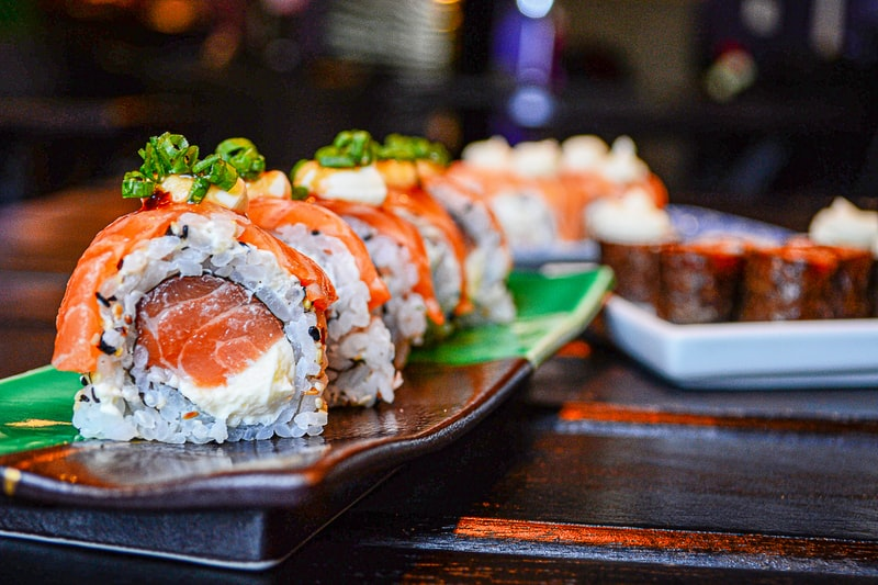 A close up of sushi on a table