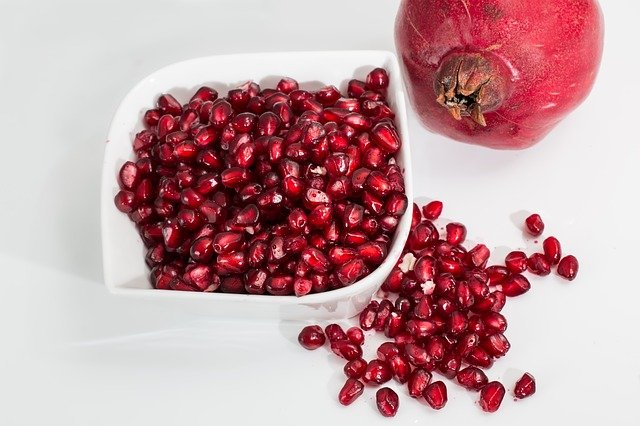 A pomegranate fruit on a table